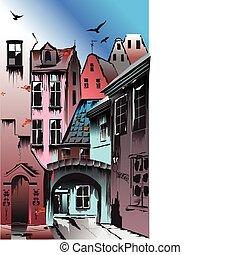 Medieval European city. Collective