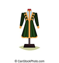Medieval European male clothing. Green coat with yellow buttons. Jacket on mannequin. Museum exhibit. Flat vector design