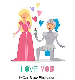 Medieval fairy love tale knight and princess vector cartoon characters illustration. Fantasy knight on knee with flower and hearts and beautiful princess lady in dress.