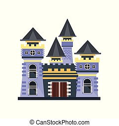 Medieval fairytale stone castle vector Illustration on a white background
