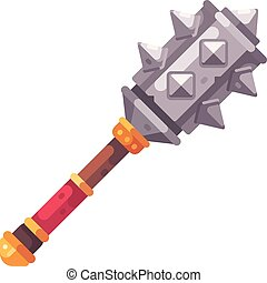 Medieval fantasy mace flat icon. Game weapon illustration.