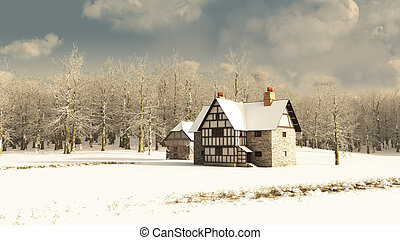 Medieval Farmhouse in Winter - Snow covered rural winter...