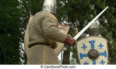 medieval fighting slow motion - Fighting medieval knights