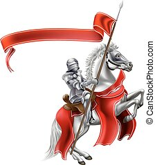 Medieval Flag Knight on Horse - A medieval knight in shining...