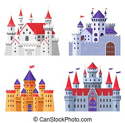 Medieval fort castle vector illustration set, cartoon flat old fantasy kingdom collection of royal fairytale fortress for king and queen isolated on white