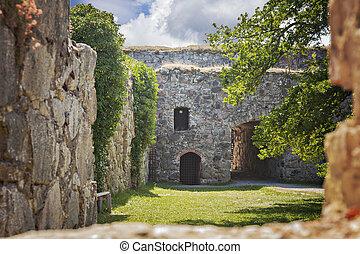 Medieval fort ruin Sweden - Image of medieval fort ruin of...