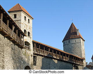 Medieval Fortification and towers in capital of Estonia ...