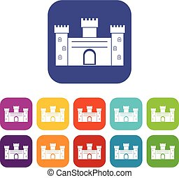 Medieval fortification icons set flat