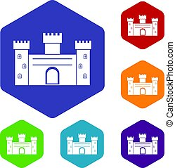 Medieval fortification icons set hexagon