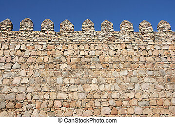 Medieval fortification - Medieval city walls in Avila,...