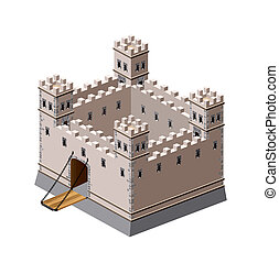 Medieval fortress - A perspective view of a medieval ...