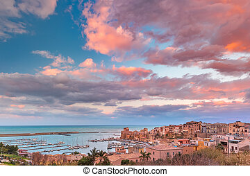 Castellammare del Golfo at sunset, Sicily, Italy