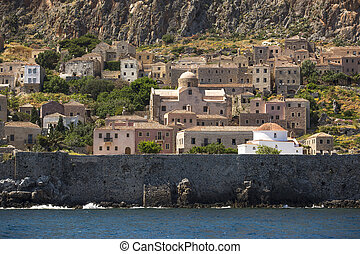 Medieval fortress of Monemvasia in Greece.
