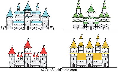 Medieval fortress or castles set. Flat style icons.