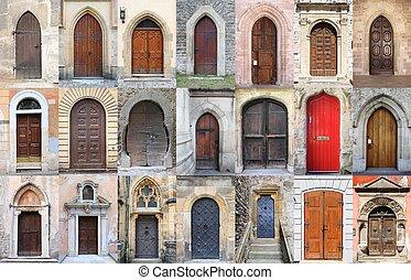 medieval, frente, portas