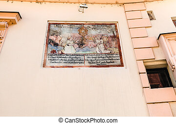 medieval fresco on the wall of house in Bratislava