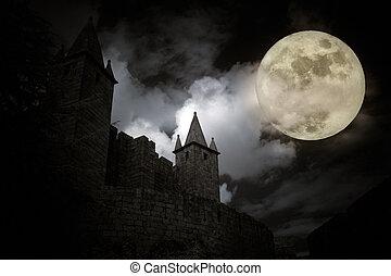 Medieval full moon - Medieval european castle in a full moon...