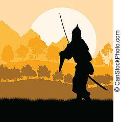 medieval, fundo, vetorial, guerreira, paisagem, cruzado