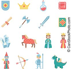 Medieval games symbols flat icons set