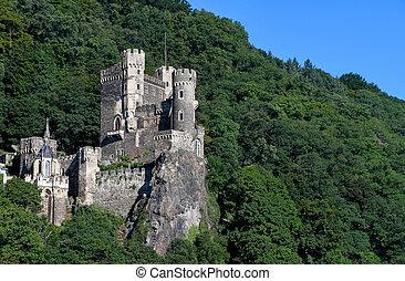 medieval German castle on mountainside - medieval castle on...