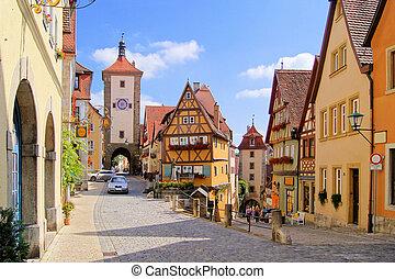 Medieval German village - Classic view of Rothenburg ob der...
