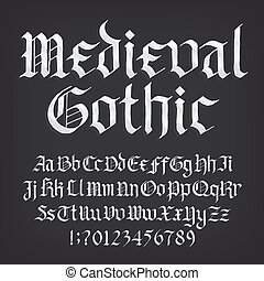 Medieval Gothic alphabet font. Old uppercase and lowercase ...