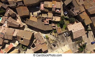 Medieval Gothic Stone Town Aerial Drone View - Pals has a...