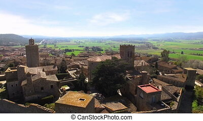 Medieval Gothic Stone Town Aerial Drone View