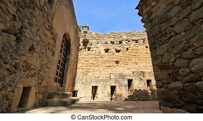 Medieval Gothic Stone Town Steady Cam Low Point of View -...