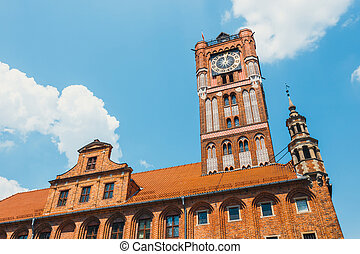 Medieval gothic town hall on main square in Torun