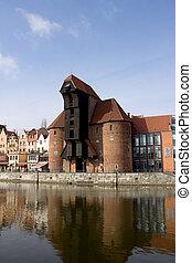 medieval, guindaste, zuraw, em, gdansk, polônia