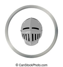 Medieval helmet icon cartoon. Single weapon icon from the big ammunition, arms set.