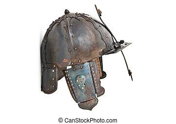 Medieval helmet isolated on white