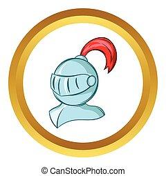 Medieval helmet vector icon, cartoon style