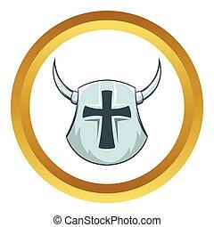 Medieval helmet vector icon