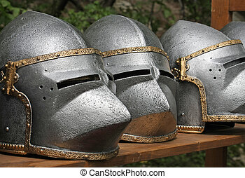 medieval helmets of ancient a mighty iron armor used by the...