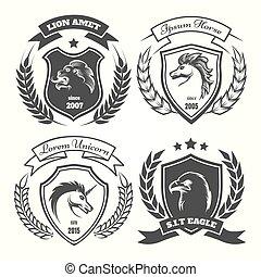 Medieval heraldry coat of arm set