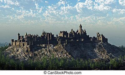 Medieval castle on a rocky hilltop crag, 3d digitally rendered illustration