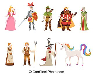 Medieval historical characters. Knight king queen prince princess fairy royal castle dragon horse witch set cartoon, vector collection