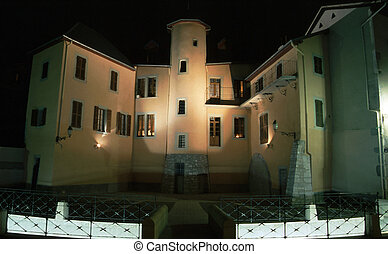 Medieval homes in Chambery by night