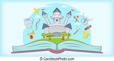 Medieval horizontal banner tale, cartoon style