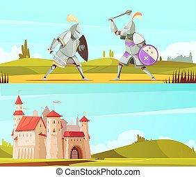 Medieval Horizontal Cartoon Banners Set