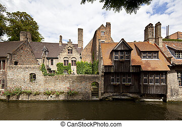 Medieval Houses At Canal In Bruges