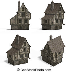 Medieval Houses - Bar - Four Views of an old fashioned house...
