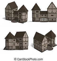 Medieval Houses - Gatehouse - Four Views of an old fashioned...