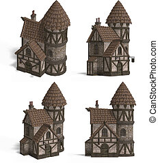 Medieval Houses - Inn - Four Views of an old fashioned house...