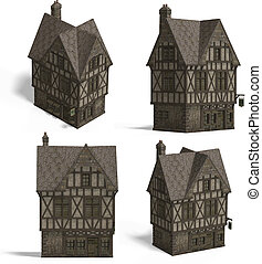 Medieval Houses - Pub - Four Views of an old fashioned house...