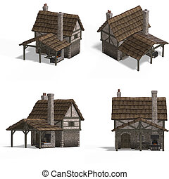 Four Views of an old fashioned house over white