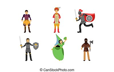 Medieval Illustration Set With Characters Of The Princess, Knights, Herald, Executioner And Court Men Isolated On White Background