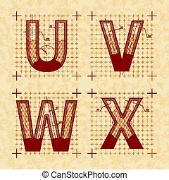 Medieval inventor sketches of U V W X letters. Retro style...